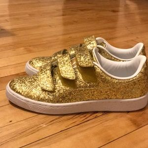 Puma gold glitter sneakers 8.5